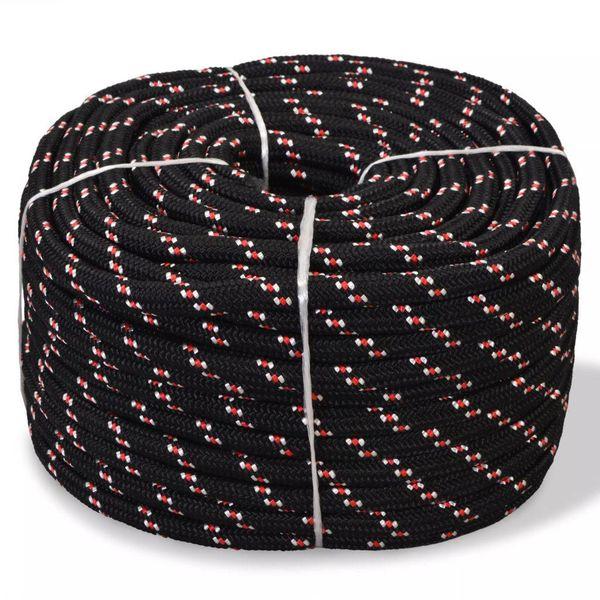 Boot touw 8 mm 100 m polypropyleen zwart