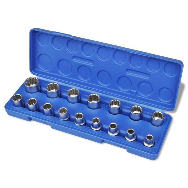 Dopsleutel fitting set 12-hoekig (16 stuks) + opbergkoffer