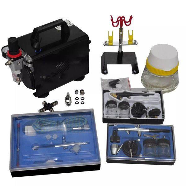 Airbrush compressor set met 3 spuitpistolen