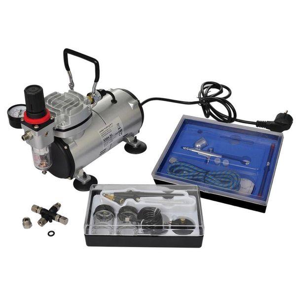 Airbrush compressor + set met 2 spuitpistolen