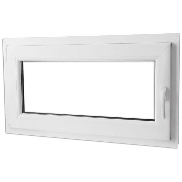 PVC raam met dubbel glas en handvat rechts 1000 x 600 mm