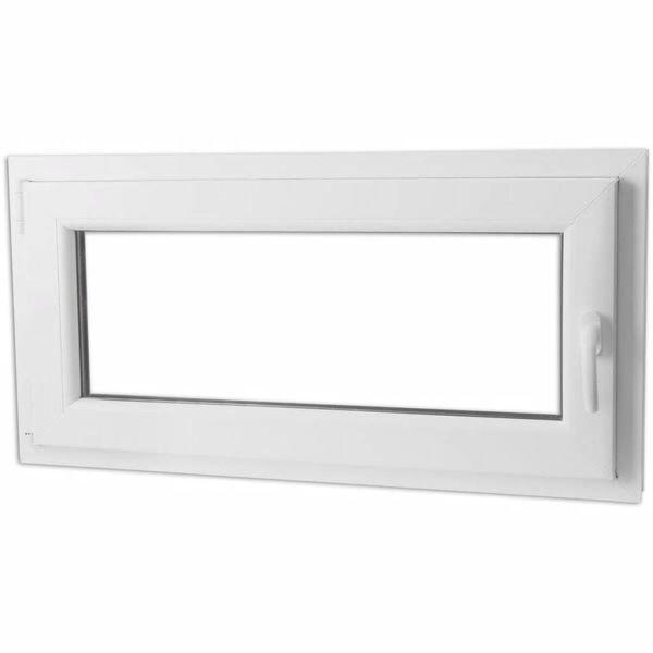 Draaikiepraam van PVC met dubbel glas en handvat rechts 1000 x 500 mm