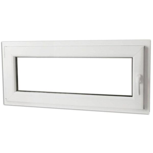 Draaikiepraam van PVC met dubbel glas en handvat rechts 900 x 400 mm