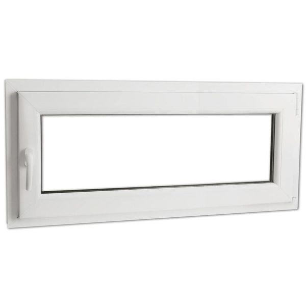 Draaikiepraam van PVC met dubbel glas en handvat links 900 x 400 mm