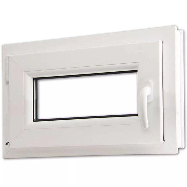 Draaikiepraam van PVC met dubbel glas en handvat rechts 600 x 400 mm