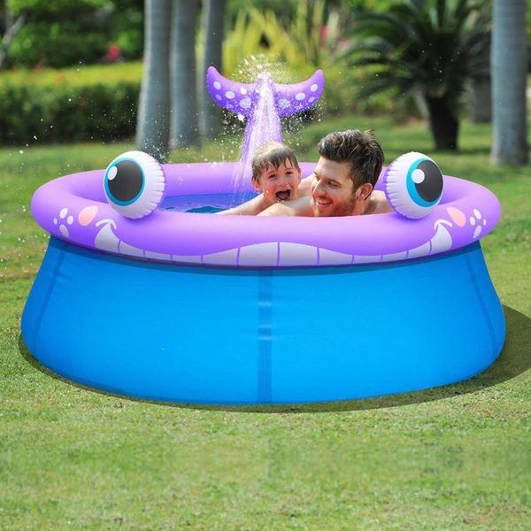 Opblaasbaar zwembad walvisvorm + sproeifunctie 175x62 cm 1143 L
