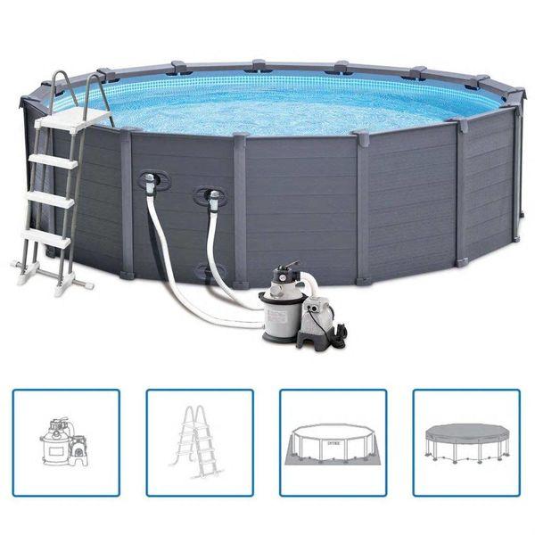 Paneelzwembad 478 cm grafiet PVC 16805 L 28382GN