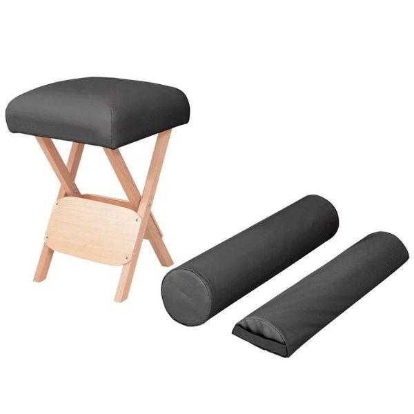 Massagekruk met 12 cm dikke zitting en 2 bolsters inklapbaar zwart