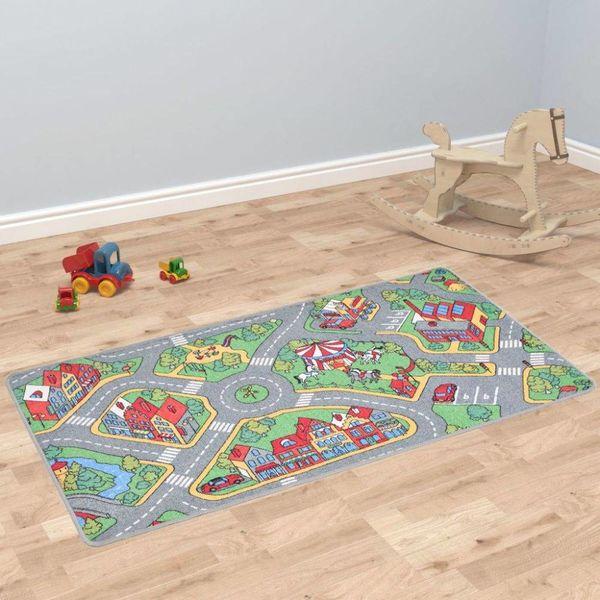 Speeltapijt 120x160 cm lussenpool stadswegenpatroon