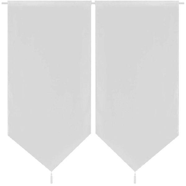 2 Keukenvitrages linnenachtig 60 x 160 cm wit