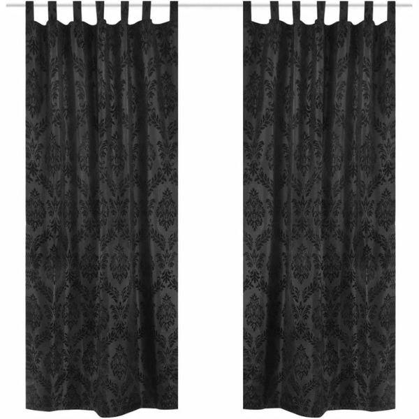 2 Gordijnen tafzijde barok 140 x 245 cm zwart