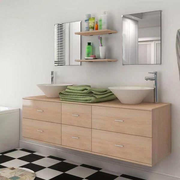 Badkamermeubelset 9-delig met kraan en wasbak beige - Retourdeal