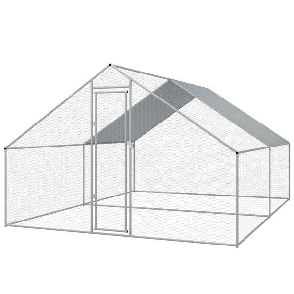 Buitenhok voor kippen 3x4x2 m gegalvaniseerd staal