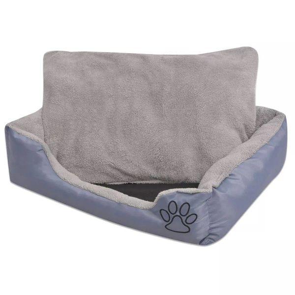 Hondenbed met gewatteerd kussen maat L grijs