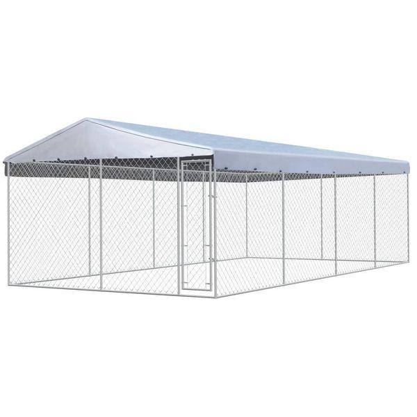 Hondenkennel met dak voor buiten 8x4 m gegalvaniseerd staal