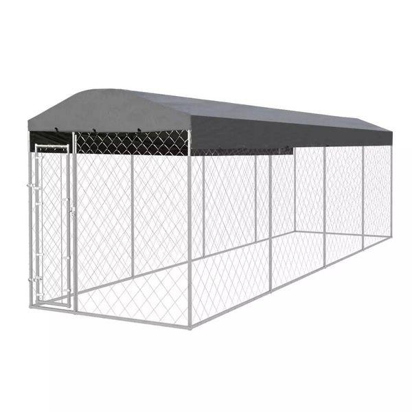 Hondenkennel met dak voor buiten 8x2 m