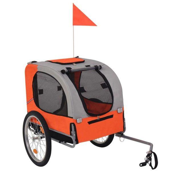 Hondenfietskar oranje en grijs