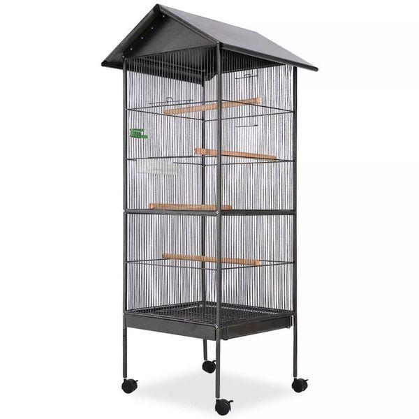 Vogelkooi met dak staal zwart 66x66x155 cm