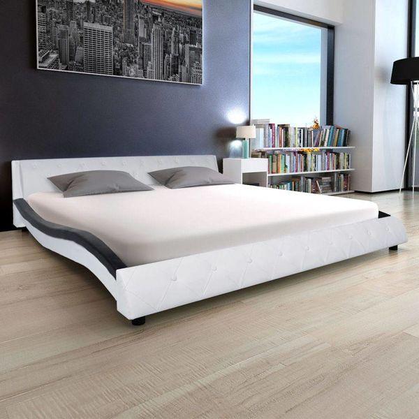 Bed & traagschuim matras kunstleer 180 cm wit zwart