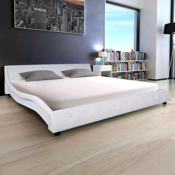 Bed & traagschuim matras kunstleer 180 cm wit