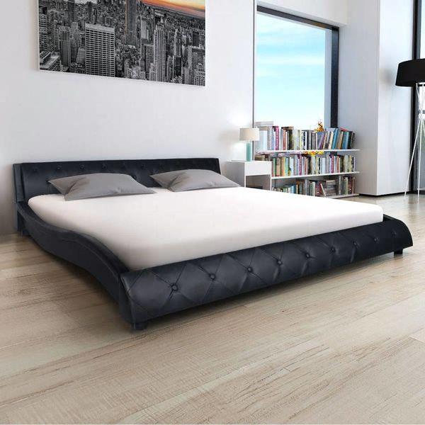 Bed & traagschuim matras kunstleer 180 cm zwart