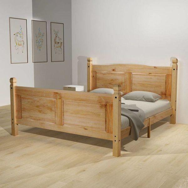 Bed & traagschuim matras grenenhout Corona-stijl 140x200 cm