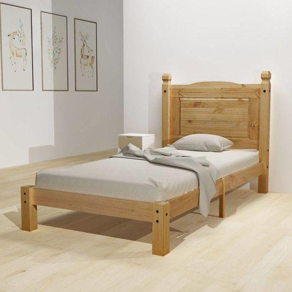Bed & traagschuim matras grenenhout Corona-stijl 90x200 cm