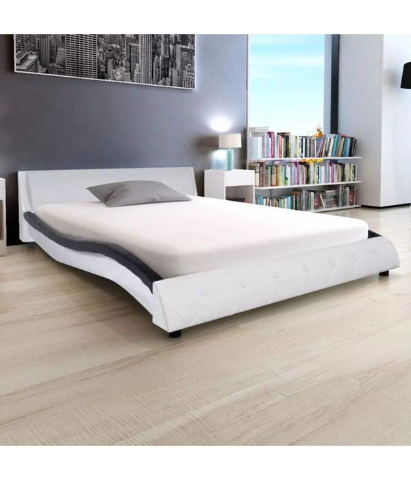 Zwart Bed 140x200.Vidaxl Bed Met Matras Kunstleer 140x200 Cm Zwart En Wit Voordeeltrends