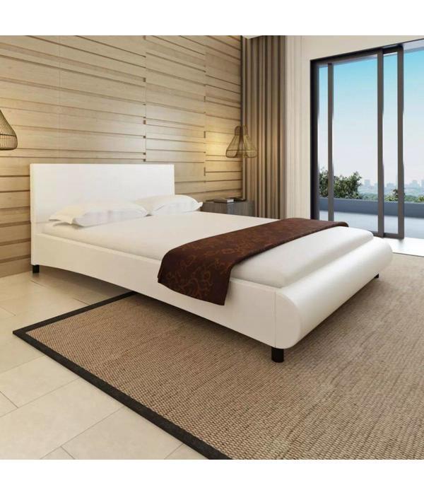 Bed 140x200 Wit.Vidaxl Bed Met Matras Bol Kunstleer Wit 140x200 Cm Voordeeltrends