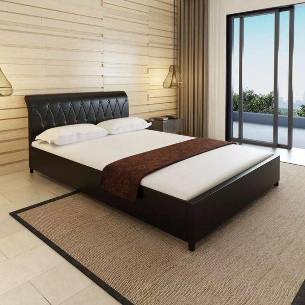Bed + matras gecapitonneerd kunstleer zwart 140x200 cm