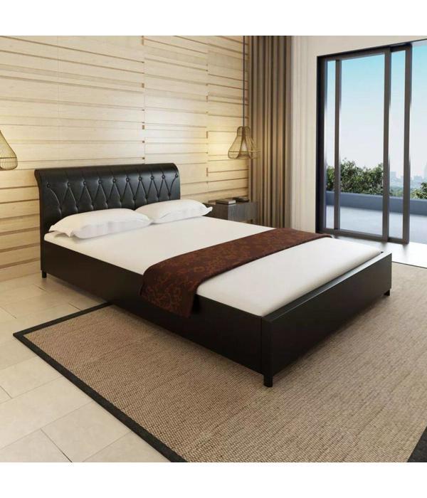 Bed 140x200 Met Matras.Vidaxl Bed Matras Gecapitonneerd Kunstleer Zwart 140x200 Cm