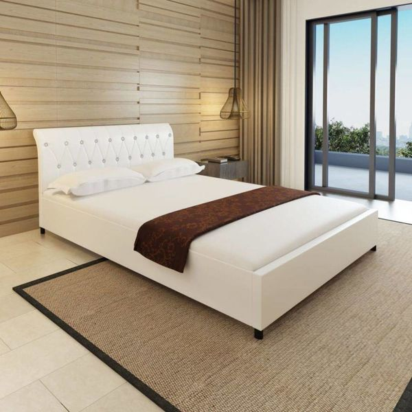 Bed + matras gecapitonneerd kunstleer wit 140x200 cm