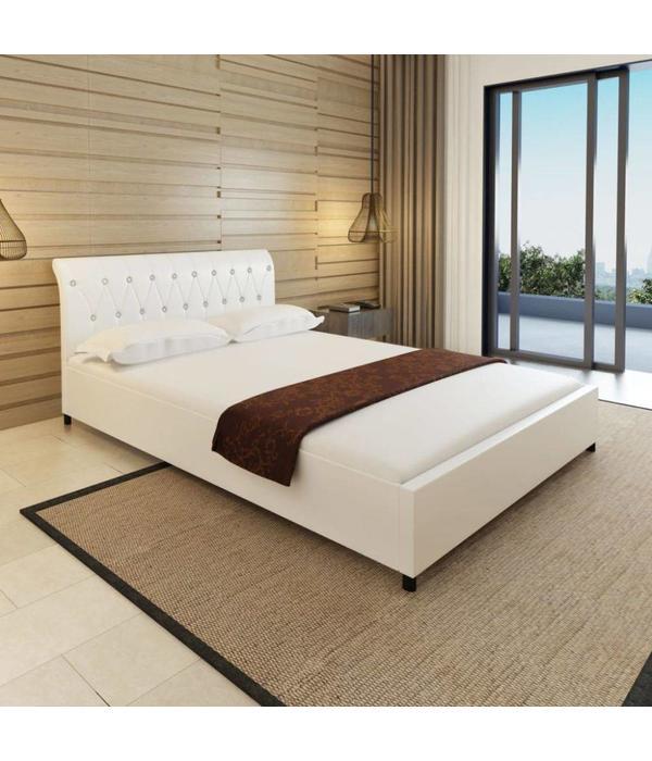 Bed 140x200 Wit.Vidaxl Bed Matras Gecapitonneerd Kunstleer Wit 140x200 Cm