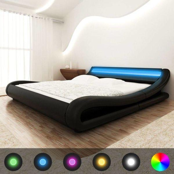 Bed + LED strip + traagschuim matras + traagschuim topmatras (zwart)