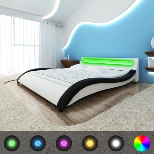 Bed + LED strip + traagschuim matras + topmatras 140 cm (zwart/wit)