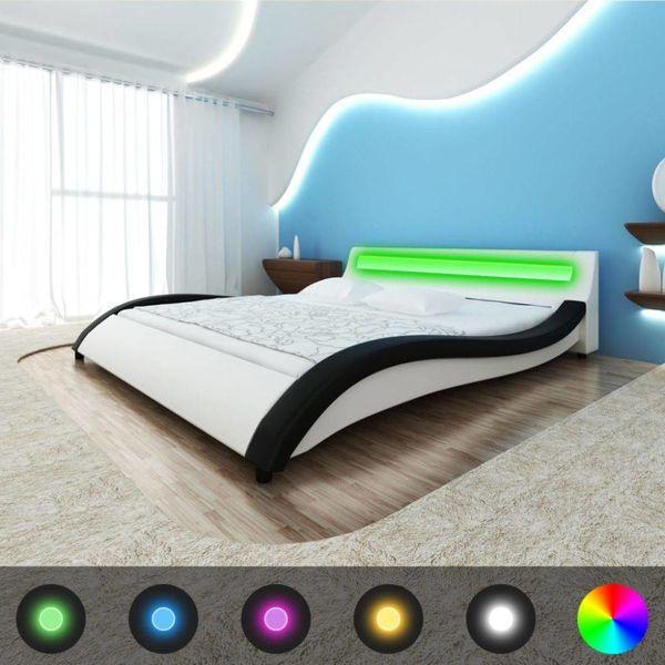 Bed + LED + traagschuim matras + traagschuim topmatras zwart/wit