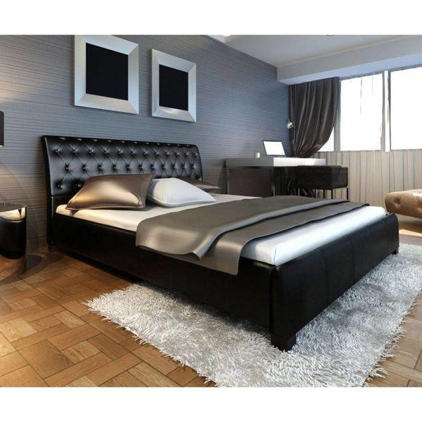 Bed + traagschuim matras & traagschuim topmatras 140 cm (zwart)