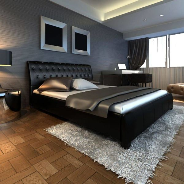 2-persoonsbed luxe leer incl matras 180 x 200 cm zwart