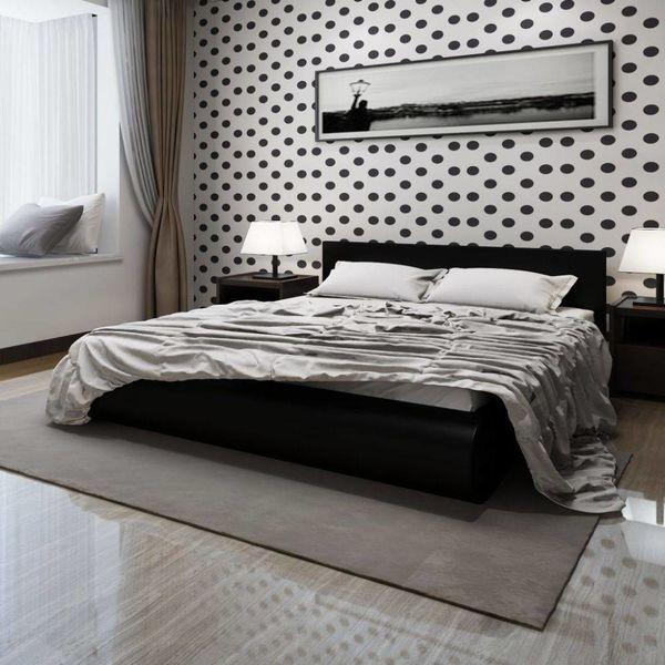 2-persoons bed Fluente zwart 180 x 200 incl. matras