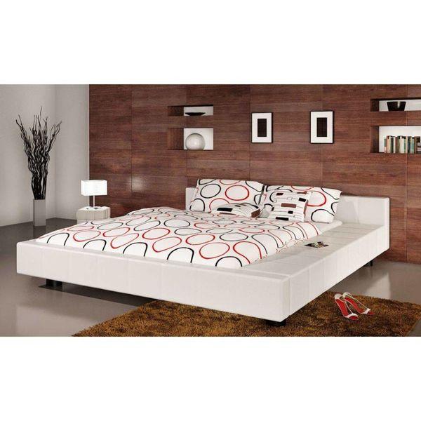 2-persoons bed Futon wit kunstleer 180 x 200 cm