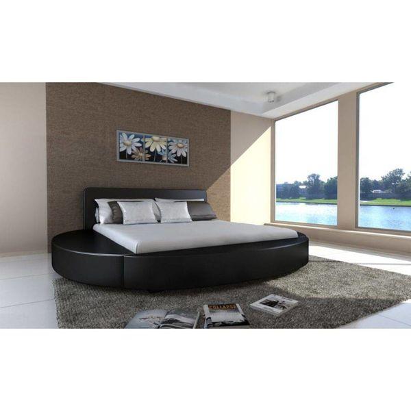 2- persoons bed Cerchio zwart 180 x 200 cm met matras