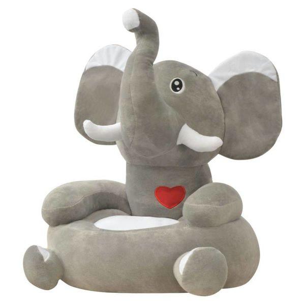 Kinderstoel olifant pluche grijs