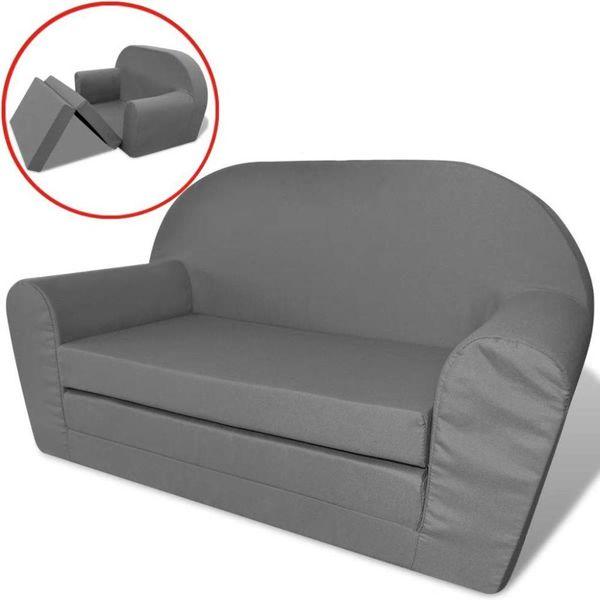 Loungestoel voor kinderen uitklabaar grijs