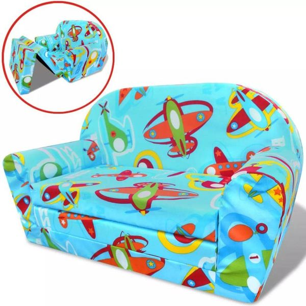 Loungestoel voor kinderen uitklapbaar vliegtuigpatroon