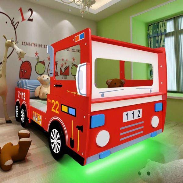 Kinderbed brandweerwagen met LED-verlichting & matras 200x90 cm