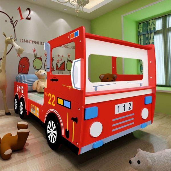 Kinderbed brandweerwagen met traagschuim matras 200x90 cm