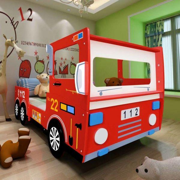 Kinderbed brandweerwagen met matras 200x90 cm