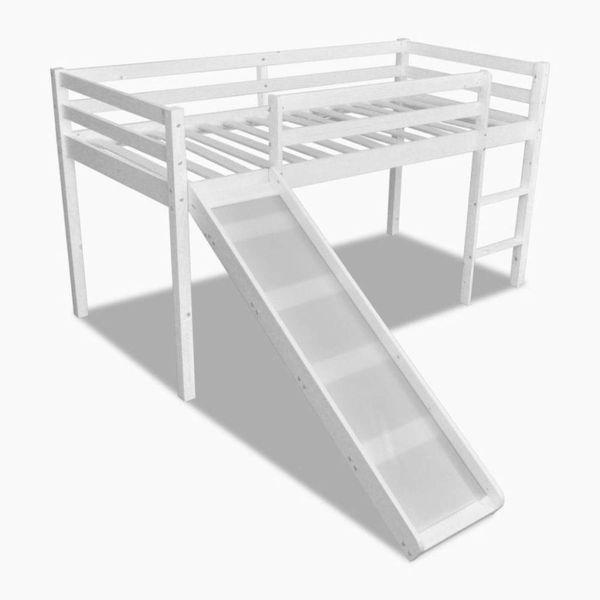 Kinderhoogslaper met glijbaan en ladder hout wit