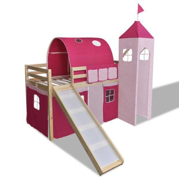Kinderhoogslaper met glijbaan en ladder hout roze
