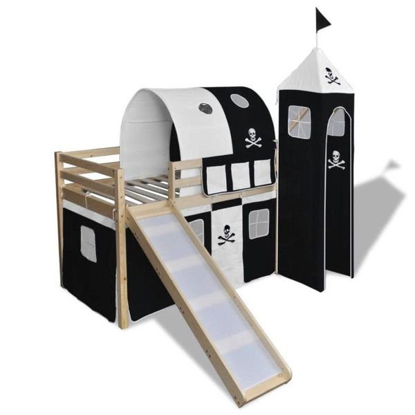 Kinderhoogslaper met glijbaan en ladder hout zwart wit
